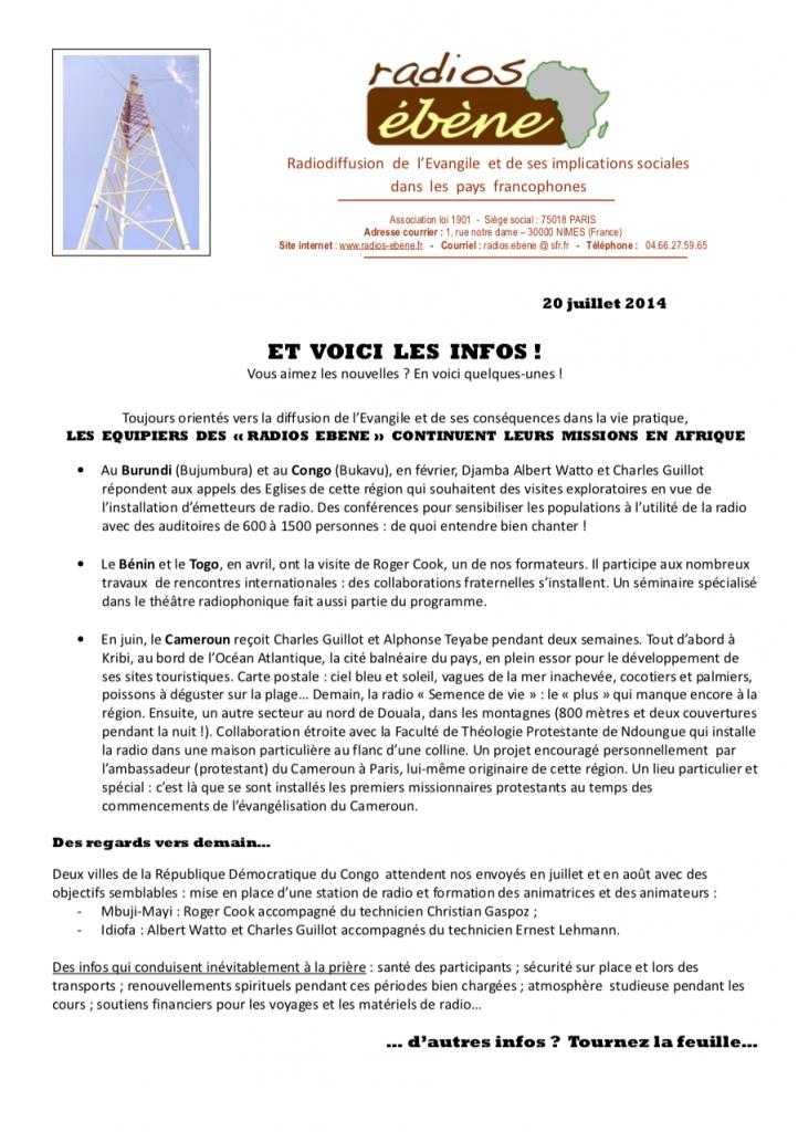 Lettre infos de jullet 2014