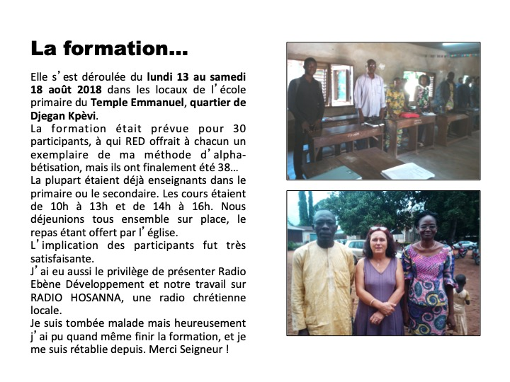 formation alphabétisation Porto Novo Bénin