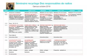 planning recyclage des responsables radios Garoua